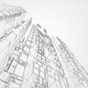 Concetto di wireframe urbano. Illustrazione edilizia Wireframe di disegno architettonico CAD.
